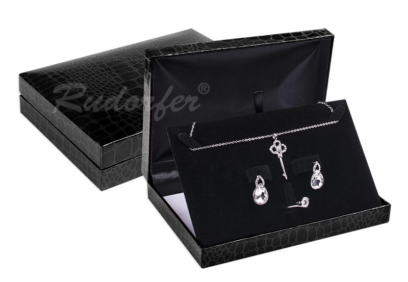 Cutie pt SET de bijuterii din piele COCO pe NEGRU