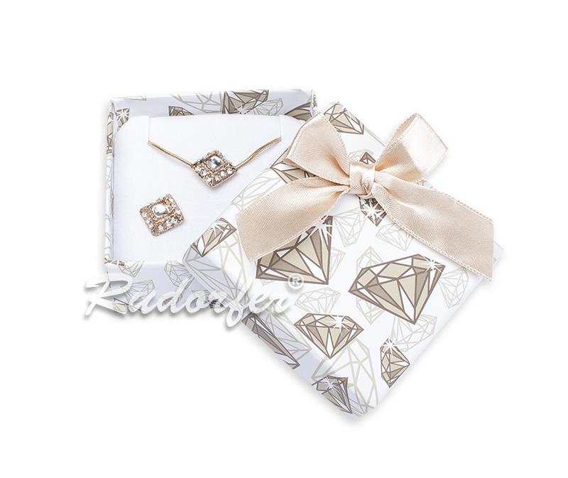 Cutie pt CERCEI si PANDANT din carton DIAMOND pe AURIU