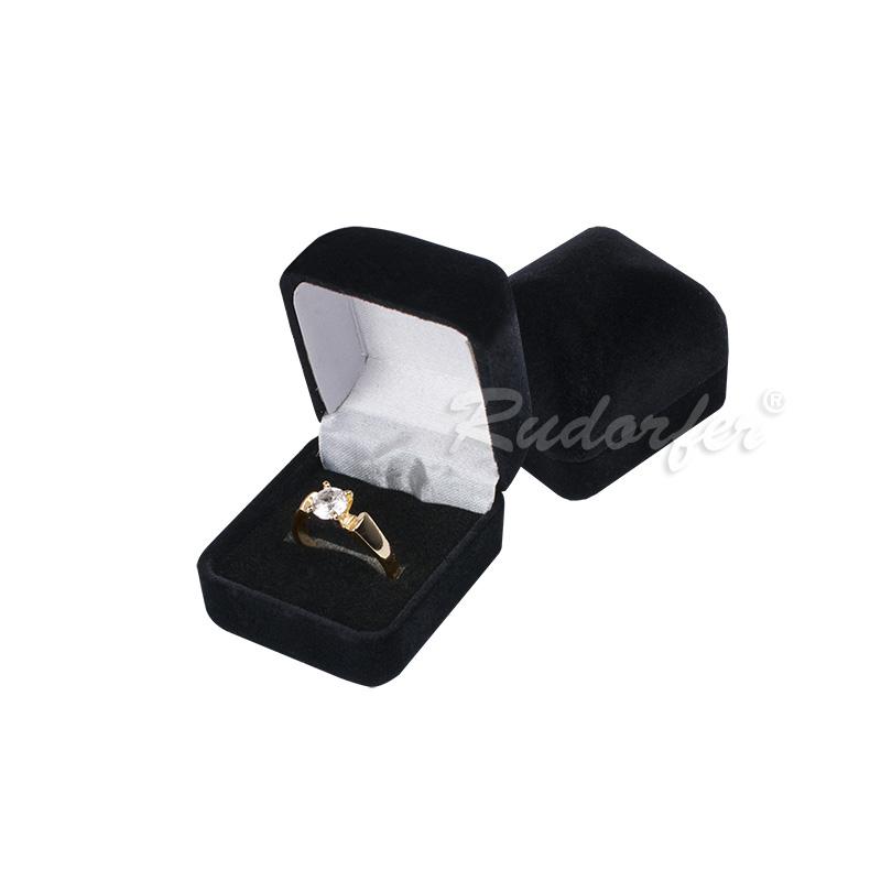 Cutie pt inel din catifea DIANA mic pe NEGRU