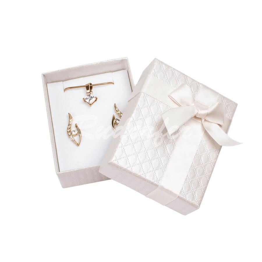 Cutie pentru inel si cercei din carton DREAM pe crem
