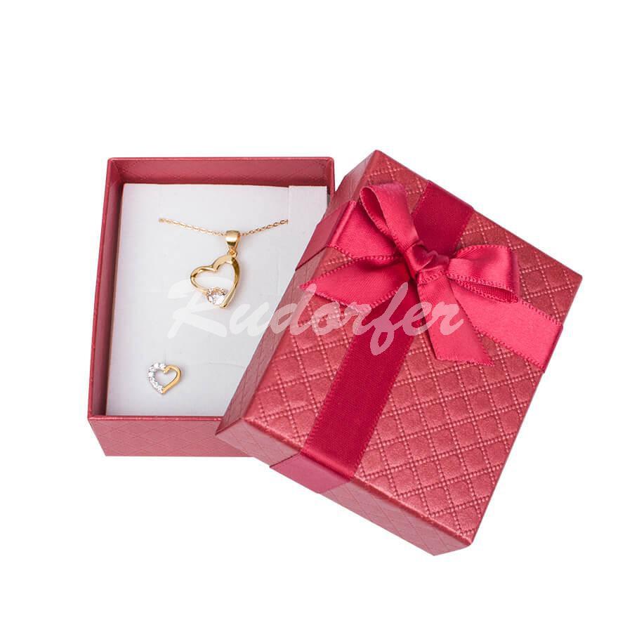 Cutie pentru inel si cercei din carton DREAM pe rosu
