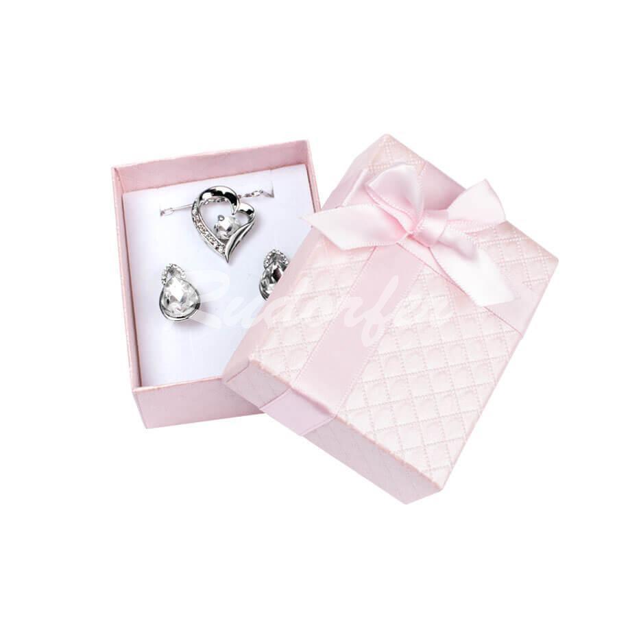 Cutie pentru inel si cercei din carton DREAM pe roz