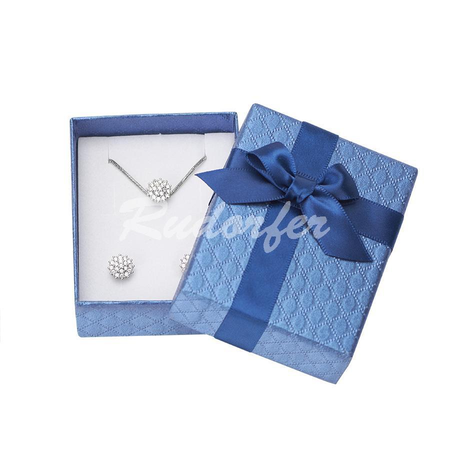 Cutie pentru inel si cercei din carton DREAM pe albastru