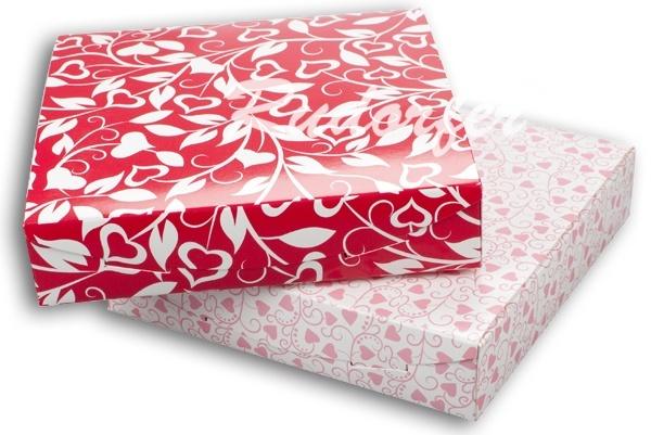 Cutie pt SET mare din carton ECO MIX pe ROSU si ROZ