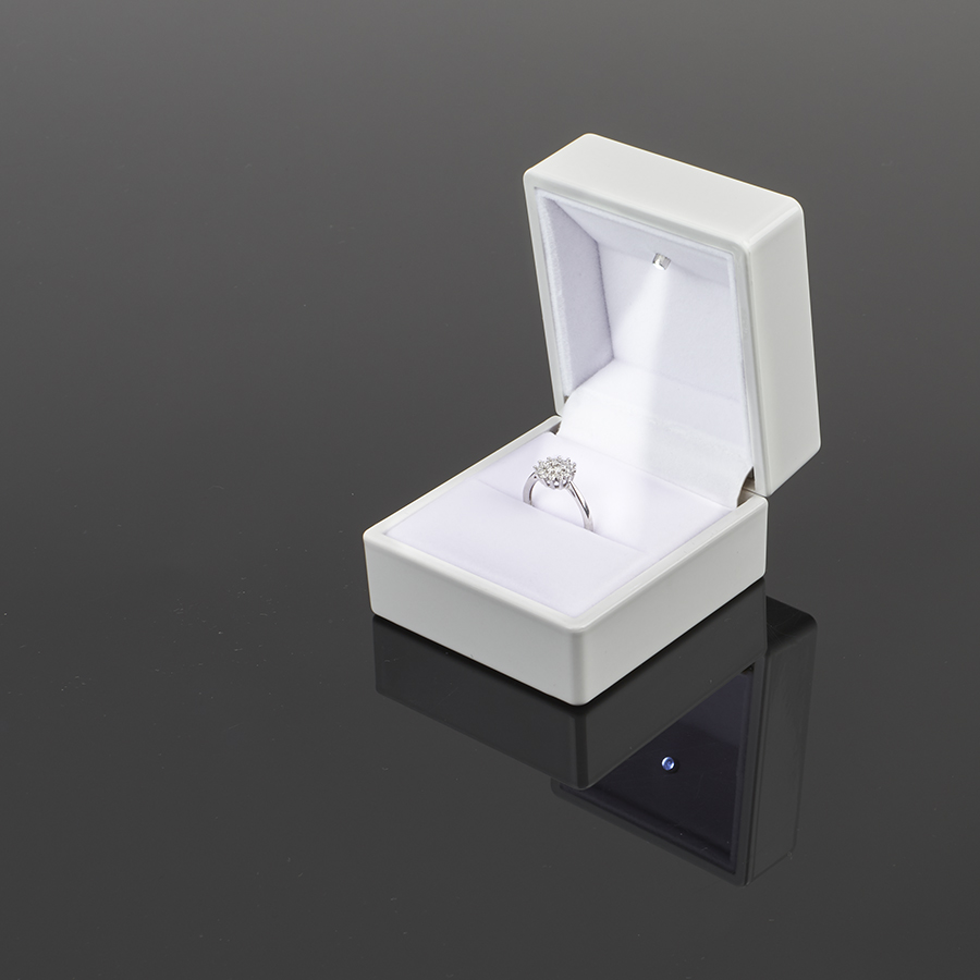 Cutie din plastic cu LED pt INEL pe alb