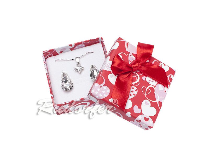 Cutie pt CERCEI si PANDANT din carton LOVE pe ROSU