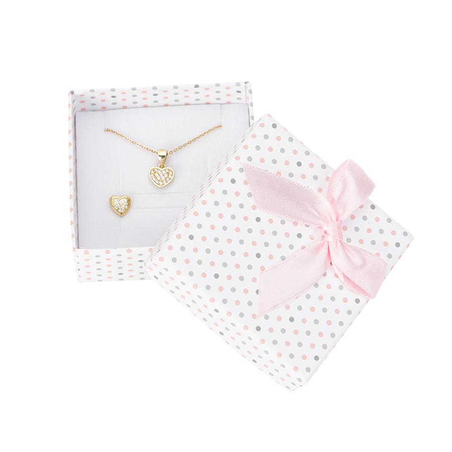 Cutie pt CERCEI si PANDANT din carton PASTELLOVE pe alb cu roz