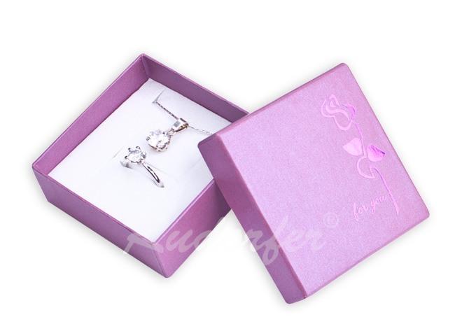 Cutie pt CERCEI si PANDANT din carton ROSE pe MOV
