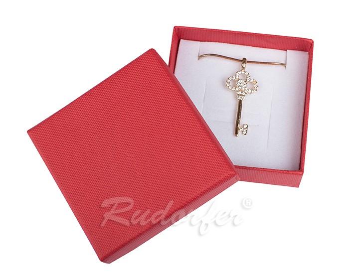 Cutie pentru inel si cercei din carton SOFIA pe rosu