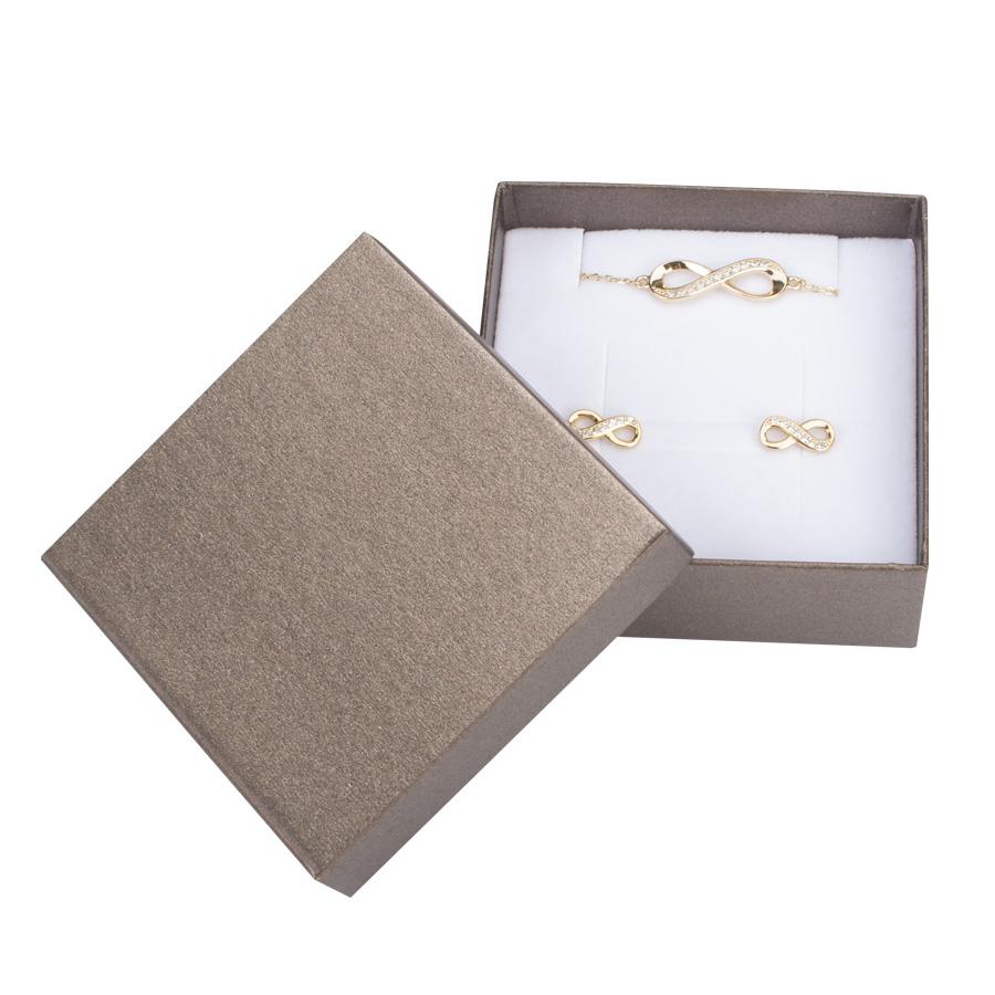 Cutie pt CERCEI si PANDANT din carton SPIRIT PEARL pe MARO inchis