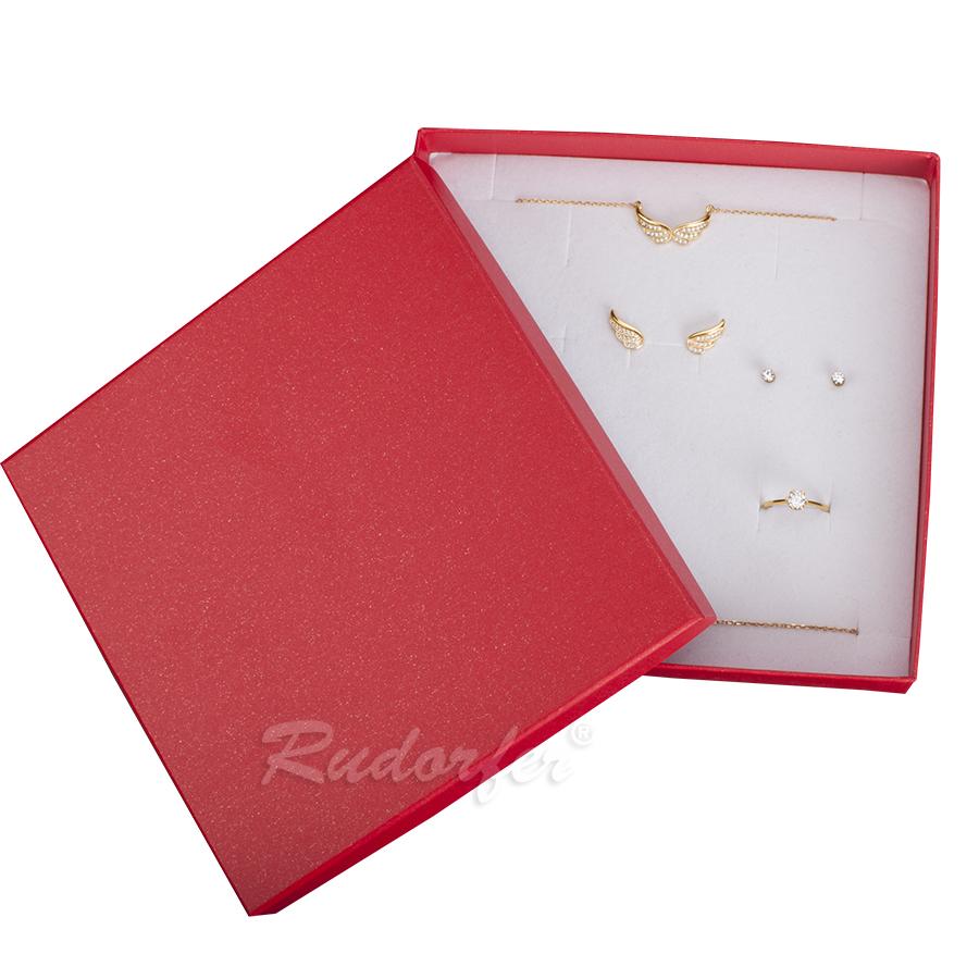Cutie pt SET mare din carton SPIRIT PEARL pe ROSU deschis