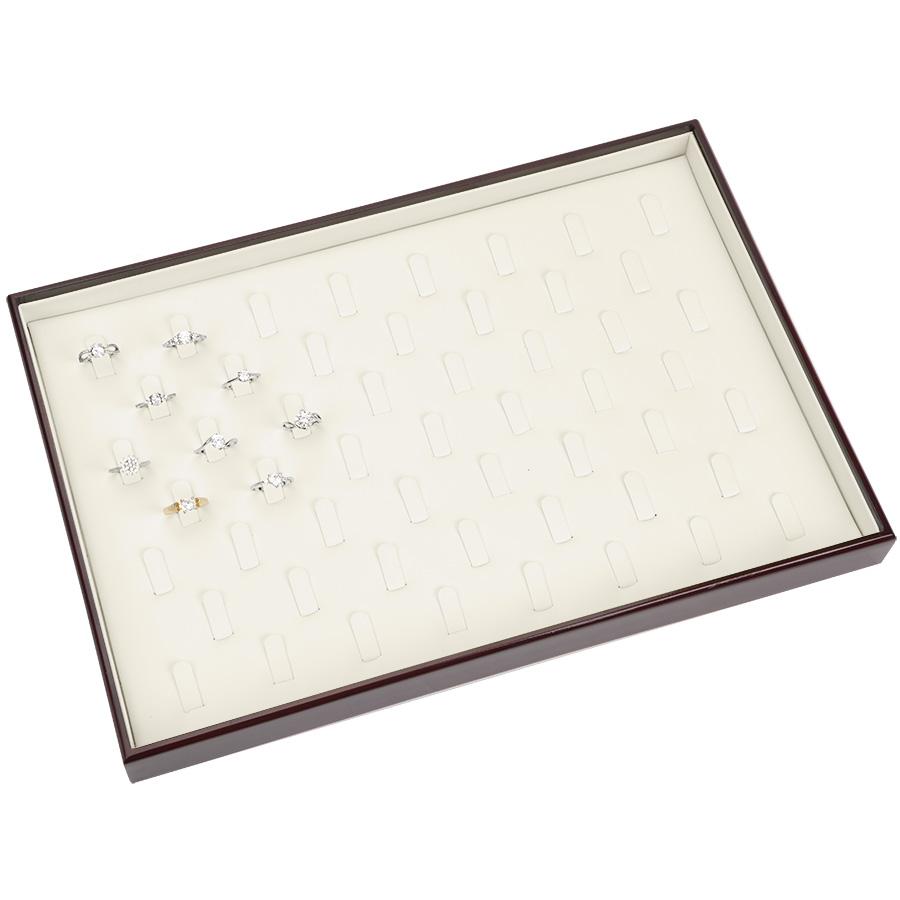 Tava din LEMN cu piele ecologica CREM pt 53 de INELE 340x230x33mm